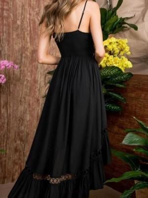 Spaghetti Straps High Low Black Cutout Chiffon Homecoming Dress With Front Knot