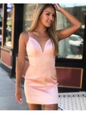 Double Spaghetti Straps Pearl Pink Tight Homecoming Dress