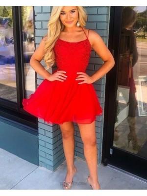 Spaghetti Straps Red Chiffon Short Homecoming Dress