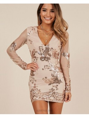Champagne V Neck Sequin Bodycon Homecoming Dress With Long Sleeves