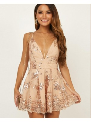 Elegant Spaghetti Straps Champagne Sequin Homecoming Dress