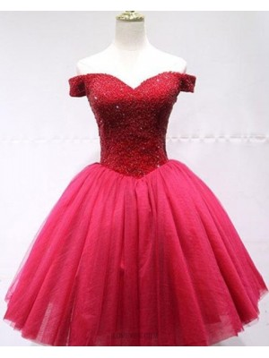 Off The Shoulder Beading Bodice Tulle Red Homecoming Dress