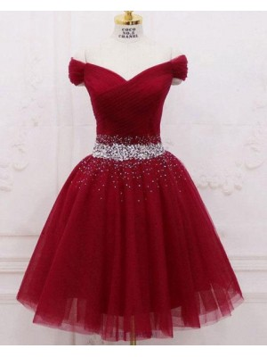 Off The Shoulder Tulle Sparkle Beading Ruched Burgundy Homecoming Dress