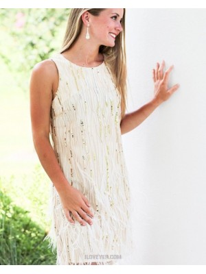 Jewel Neck Sheath Sequin White Tight Homecoming Dress With Feather