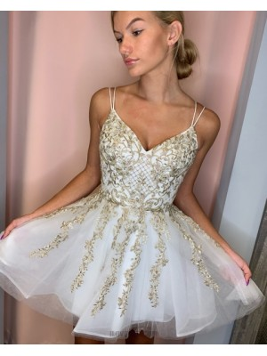 Double Spaghetti Straps Tulle White Homecoming Dress With Gold Lace