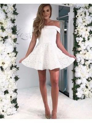 Off The Shoulder White Lace Short A Line Homecoming Dress