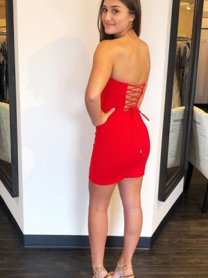 Simple Strapless Red Tight Satin Homecoming Dress