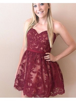 Sweetheart Burgundy Lace Homecoming Dress With Polka Dot Tulle