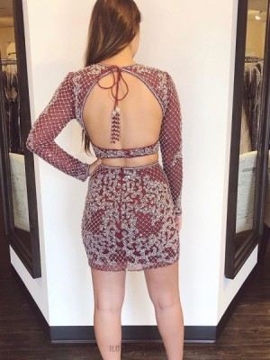 Jewel Two Piece Lace Burgundy Tight Homecoming Dress With Long Sleeves