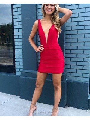 Deep V Neck Red Satin Tight Homecoming Dress