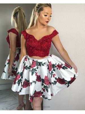 Off The Shoulder Lace Bodice Two Piece Homecoming Dress With Print Skirt