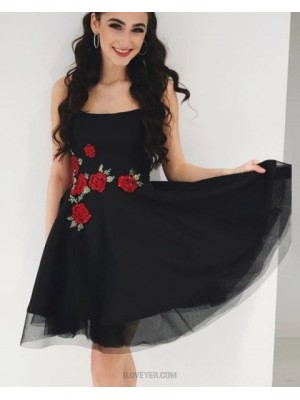 Square Black Tulle Homecoming Dress With Appliqued Flowers