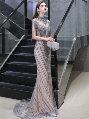 High Neck Grey & Champagne Beading Mermaid Evening Dress With Tassel Cap Sleeves