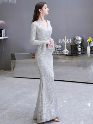 Elegant Silver Sequin Mermaid Evening Dress With Long Sleeves