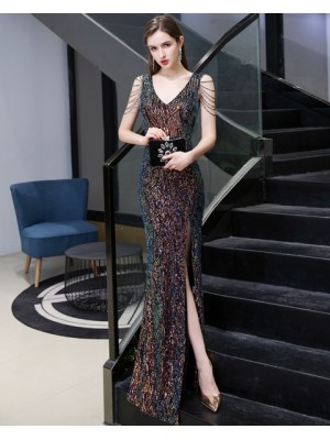 Elegant V Neck Colored Sequin Mermaid Evening Dress With Beading Sleeves