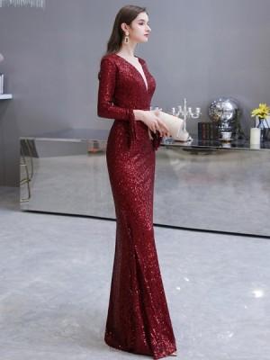 Elegant Burgundy Sequin Mermaid Evening Dress With Long Sleeves