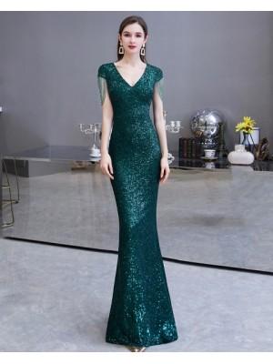 V Neck Sequin Green Mermaid Evening Dress With Tassels Cap Sleeves