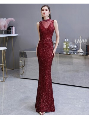 High Neck Burgundy Sequin Mermaid Evening Dress