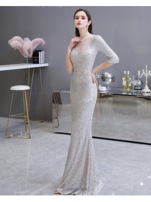 High Neck Silver Sequin Mermaid Evening Dress With Half Length Sleeves
