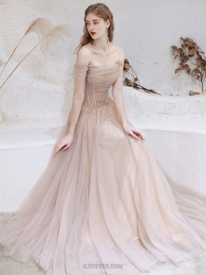 Off The Shoulder Nude Beading Tulle Evening Dress With Long Sleeves