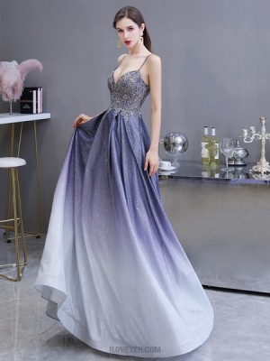 Spaghetti Straps Ombre Starry Sky Satin A Line Evening Dress With Pockets