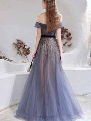Off The Shoulder Beading Navy Blue Evening Dress