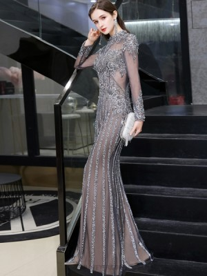 Gorgeous High Neck Grey Beading Evening Dress With Long Sleeves