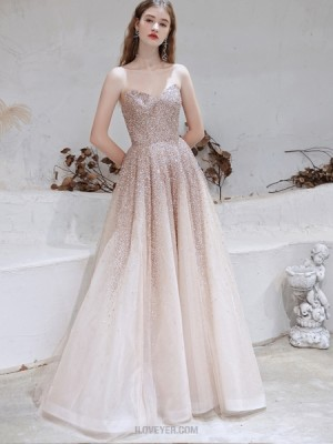 Sweetheart Rose Gold Sequin Tulle Evening Dress With Tulle Cape