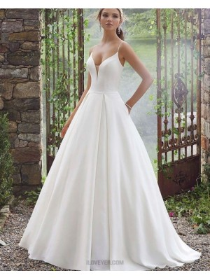 Simple Spaghetti Straps White Pleated Wedding Dress With Pockets