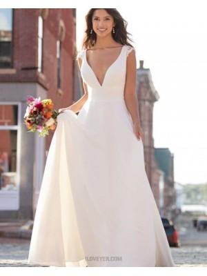 Simple V Neck Ivory A Line Empire Wedding Dress