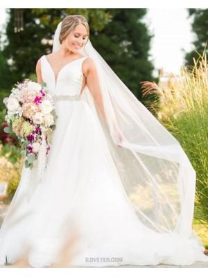 Simple V Neck Ivory Tulle A Line Wedding Dress With Belt