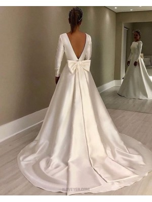 Jewel Satin White A Line Simple Wedding Dress With Long Sleeves