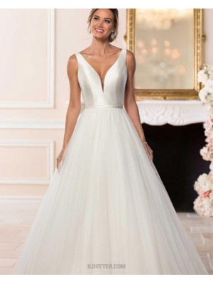 Simple V Neck Ivory Tulle Pleated A Line Wedding Dress