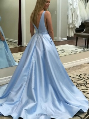 Simple Sky Blue V Neck Satin Long Prom Dress With Pockets
