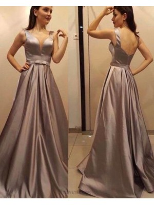 Deep V Neck Satin Pleated Brown Prom Dress With Open Back