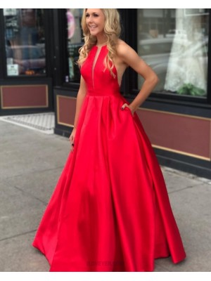 Jewel Neck Red Pleated Long Satin Prom Dress With Pockets