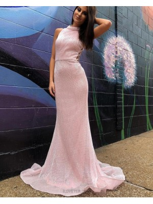 High Neck Metallic Sequin Pink Mermaid Long Prom Dress