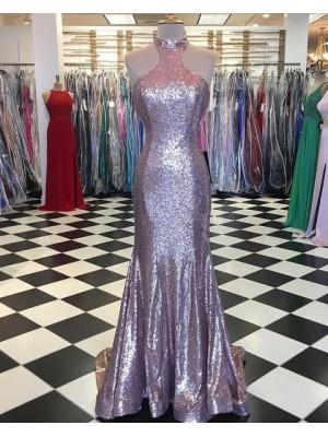 Elegant High Neck Metallic Rose Gold Mermaid Pleated Prom Dress