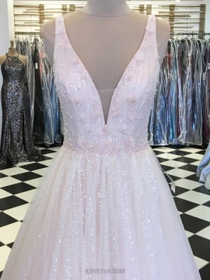 Deep V Neck Sequin Light Pink Pleated Prom Dress With Handmade Flowers
