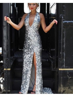 Halter Silver Sequin Mermaid Style Prom Dress With Side Slit