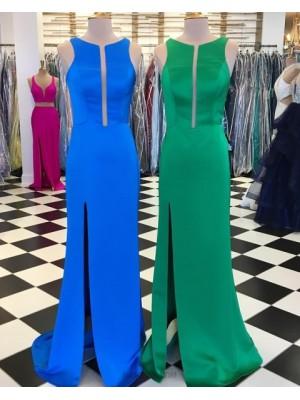 Jewel Satin Simple Sheath Long Prom Dress With Side Slit