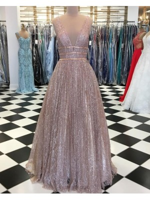 Deep V Neck Sparkle Sequin Pleated Long Prom Dress
