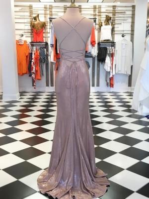 Spaghetti Straps Rose Gold Metallic Mermaid Prom Dress With Side Slit