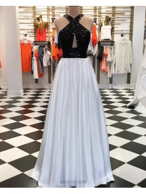 Black And White Sequin Pleated Long Prom Dress