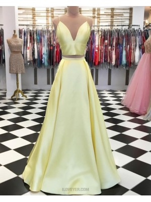 Two Piece Spaghetti Straps Yellow Simple Pleated Long Prom Dress