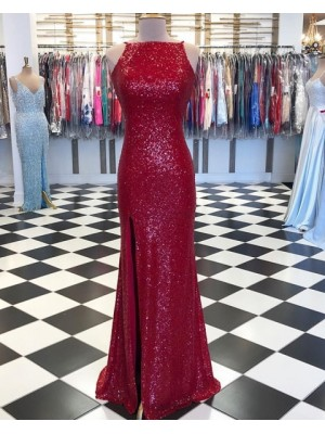 High Neck Red Sequin Mermaid Prom Dress With Side Slit