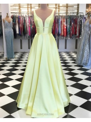 Simple V Neck Yellow Satin Pleated Long Prom Dress