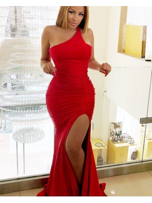One Shoulder Red Ruched Mermaid Prom Dress With Side Slit