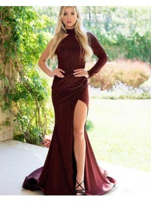 High Neck Burgundy Metallic Long Sleeve Mermaid Prom Dress With Side Slit