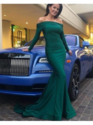 Simple Green Off The Shoulder Satin Evening Dress With Long Sleeves